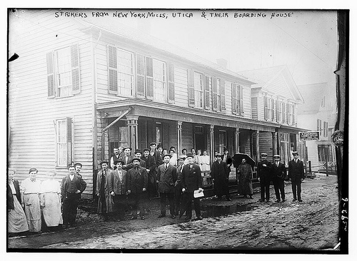 Strikers from New York Mills, Utica & their boarding home (LOC)