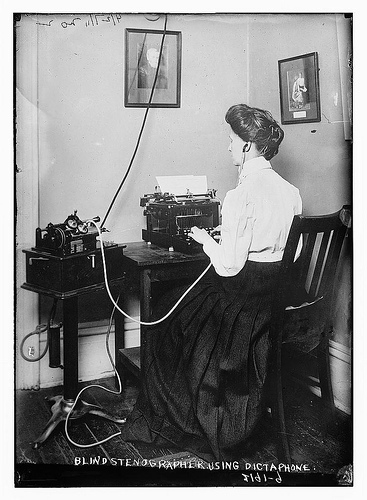 Blind stenographer employing dictaphone (LOC)