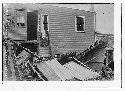 Von Spreckelson Mill blown up by dynamite (LOC)