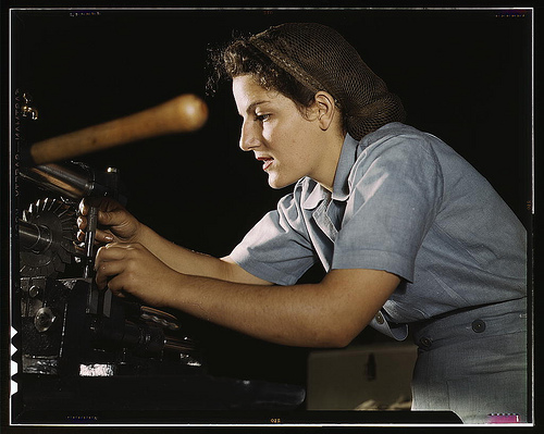 Mary Louise Stepan, 21, used to be a waitress. She has a brother in the air corps. She is functioning on transport parts in the hand mill, Consolidated Aircraft Corp., Fort Worth, Texas (LOC)