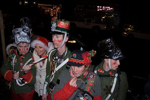 Santa's 12th Nutcracker Regiment pose close to Molotov's