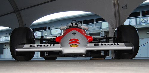 Alain Prost's McLaren MP4/2b from dead ahead, ground level