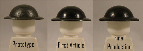 BrickArms Brodie Helmet Development – Prototype, First Article, and Final Production Samples