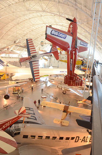 Steven F. Udvar-Hazy Center: South hangar panorama, including stunt planes hanging over the Concorde, among others