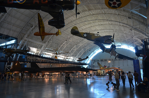 Steven F. Udvar-Hazy Center: Profile view of the SR-71 Blackbird, F-4 Corsair, P-40 Warhawk, among others
