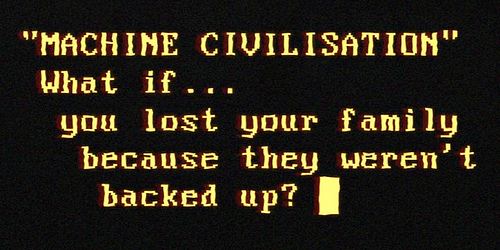 """MACHINE CIVILISATION"" What if… you lost your family due to the fact they weren't backed up? – – – – Animated GIF version, where you can luxuriate in the flicker and glitches: http://bit.ly/Vv2f9s Amber terminal capture thanks to the exquisite nostalgia of Secr"